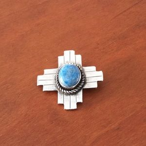 Jewelry - Sterling and denim lapis brooch
